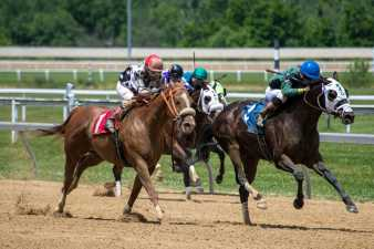 a horse race on a dirt track
