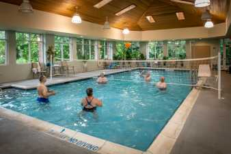 volleyball in an indoor pool at the senior center
