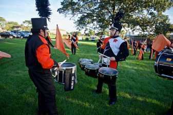 a high school marching band practice before a game
