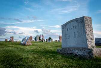 gravestones at a cemetery