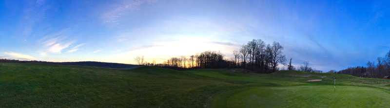 panorama of a golf course at dawn