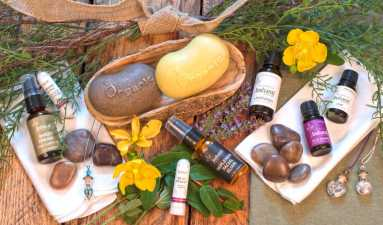 various essential oils and organic soaps