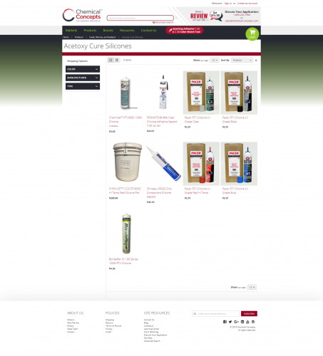 Chemical concepts products caulk and silicone acetoxy cure silicones html