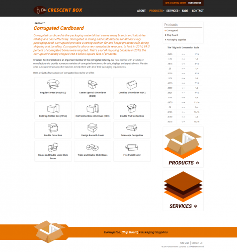 Crescentbox products corrugated php