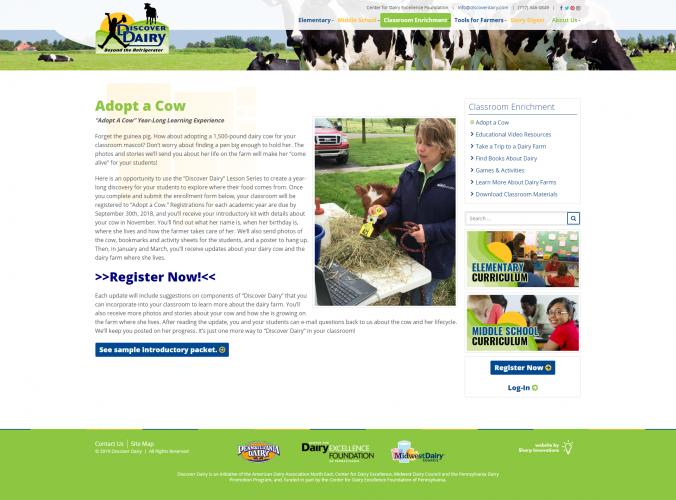 Discoverdairy classroom enrichment adopt a cow