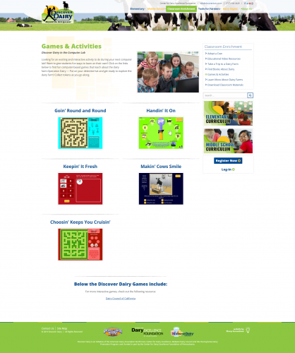 Discoverdairy classroom enrichment games activities