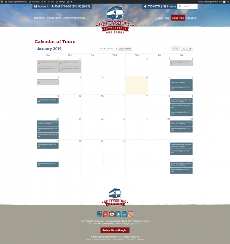 Gettysburgbattlefieldtours value plan calendar of tours