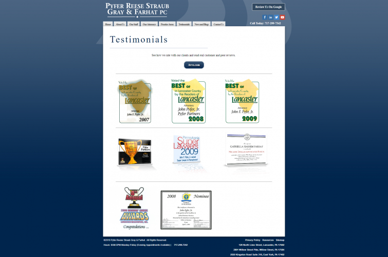 Pyferreese testimonials php