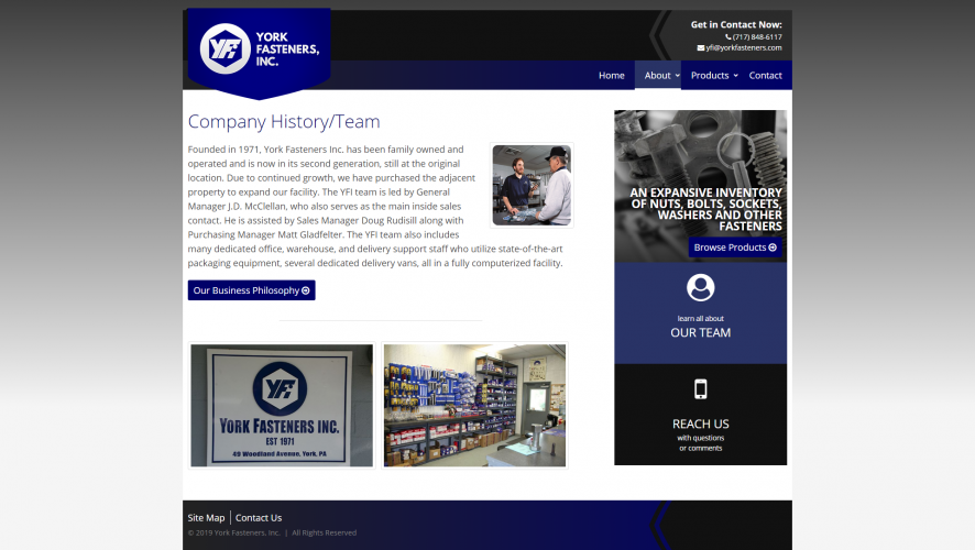 Yorkfasteners about history php