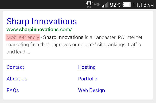 """Google's """"Mobile-Friendly"""" Search Tag"""