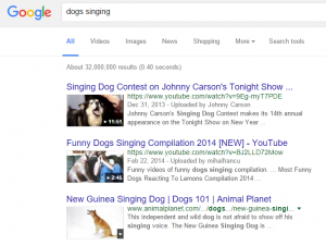 dogs singing google search