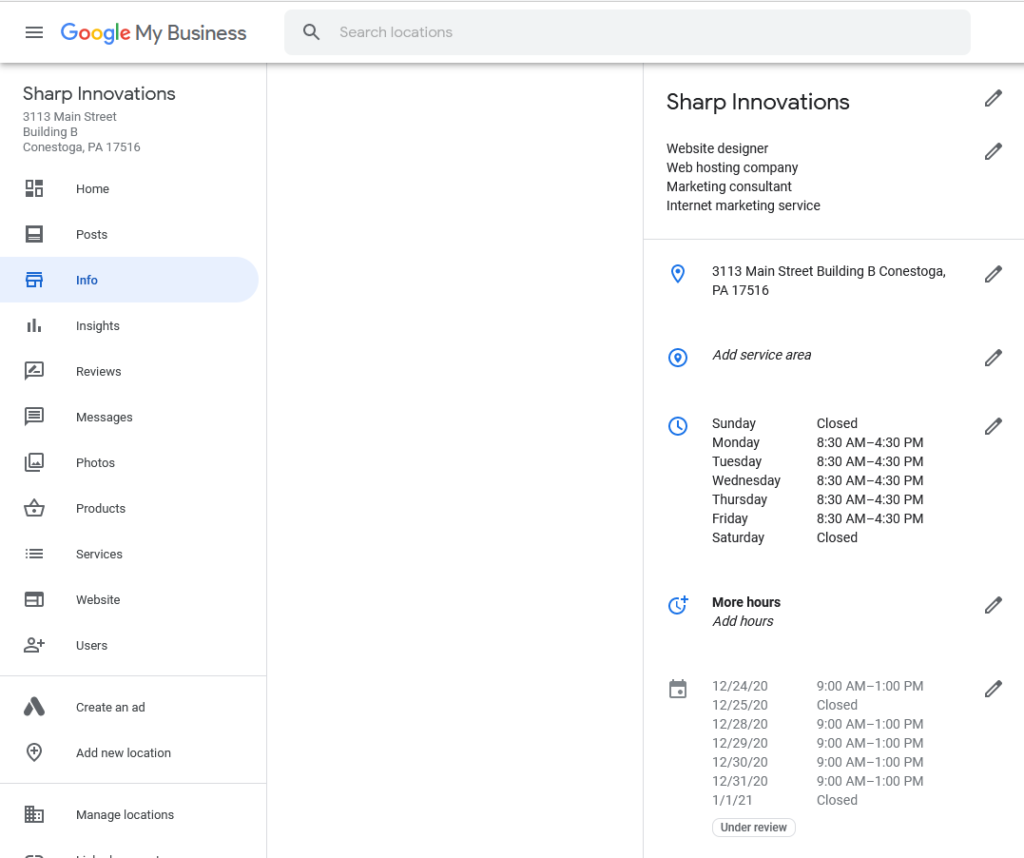 Google Mybusiness dashboard with special holiday hours