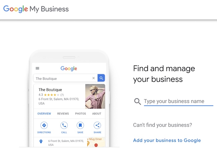 Google My Business setup step - search for your business