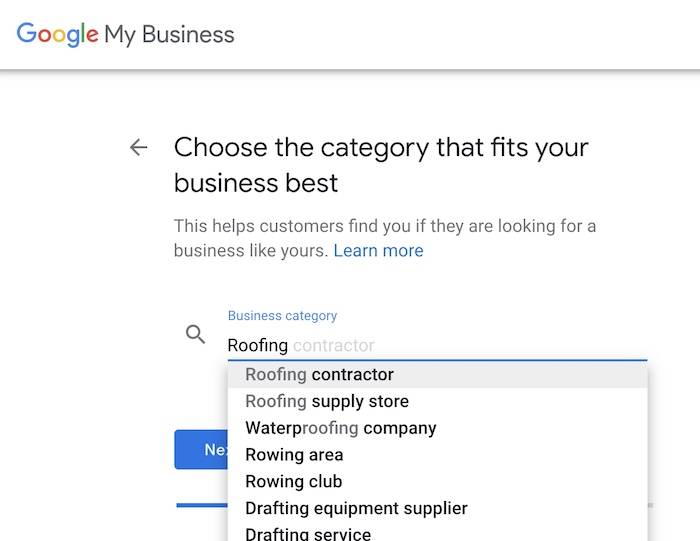 GMB setup - choose your business category
