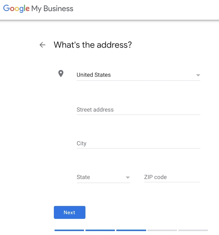 GMB step - enter your business address