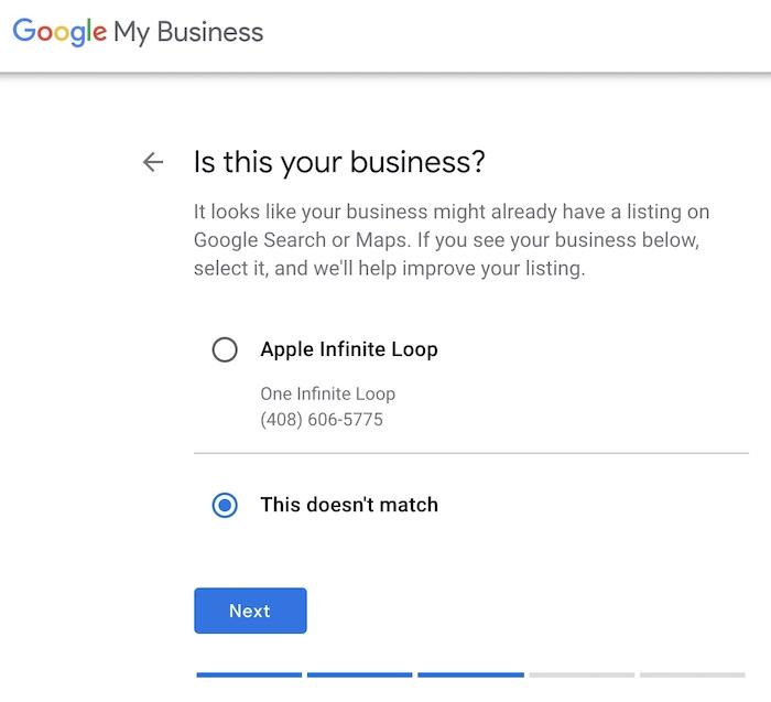 GMB step - match your business address