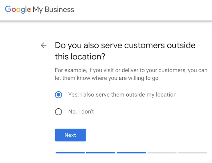 GMB step - your business service area