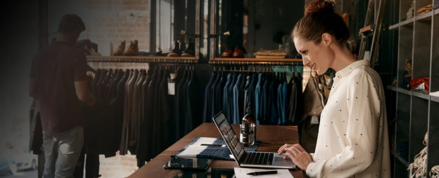 lady enjoys shopping online