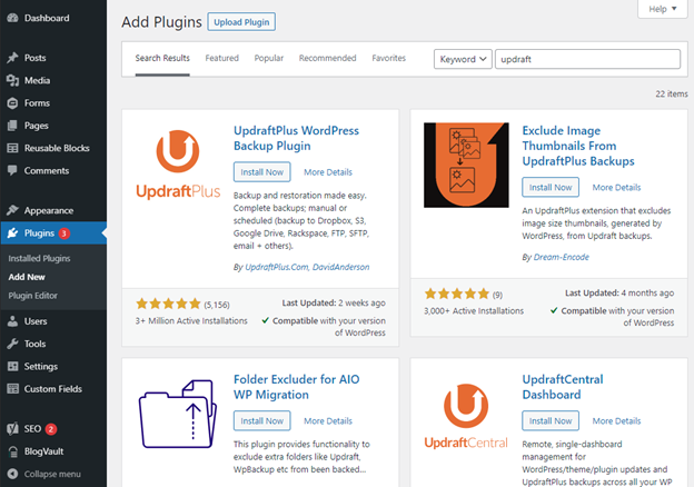 create a backup of WordPress site files